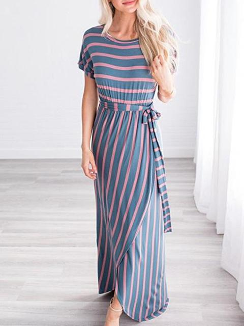 Stripes Print Irregular Split Dress