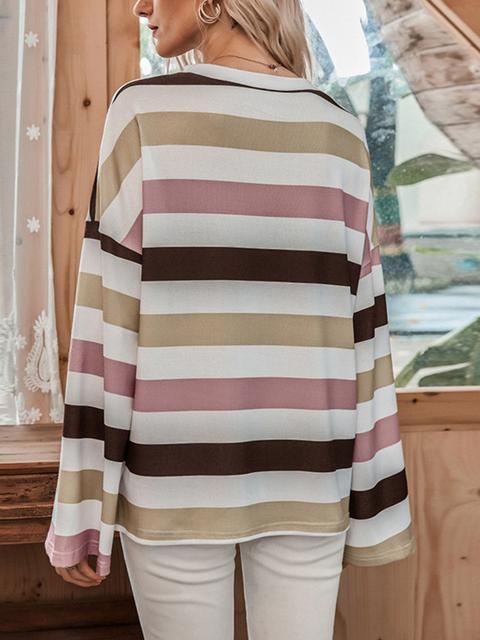 Stripes Print Long Sleeve Tops