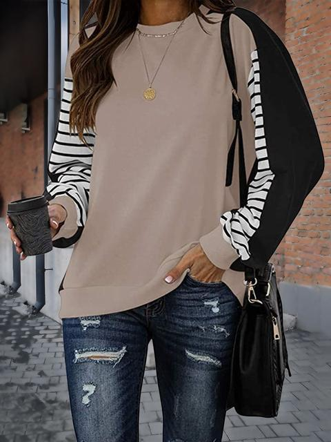 Stripes Print Sleeve Loose Tops