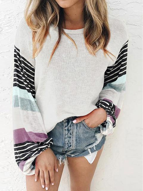 Stripes Print Sleeve Thin Tops