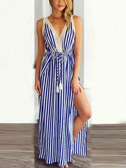 Stripes Print V-neck Maxi dress