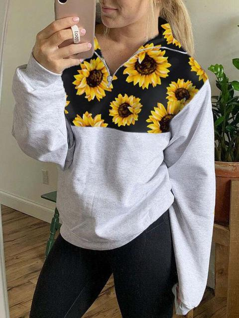 Sunflower Print Zipper Up Sweatshirt