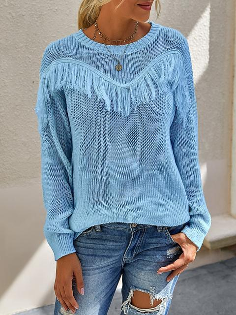 Tassel Solid Round Neck Pullove Sweater