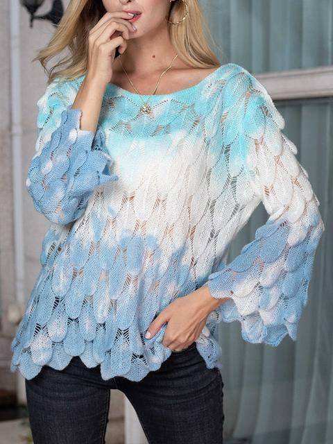 Tie-dye Feather Shapes Hollow Out Pullover