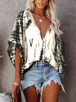 Tie-dye Print Bat Sleeve Blouse