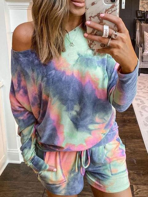 Tie-dye Print Home Casual Shorts Set