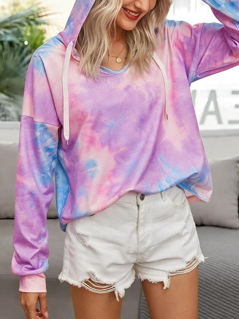Tie-dye Print Short Hooded Sweater