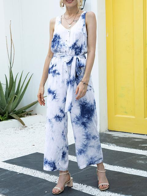 Tie-dye Print Sleeveless Jumpsuit