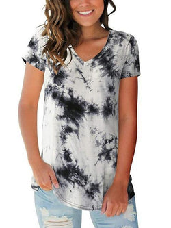 Tie-dye Print V-neck Loose T-shirt