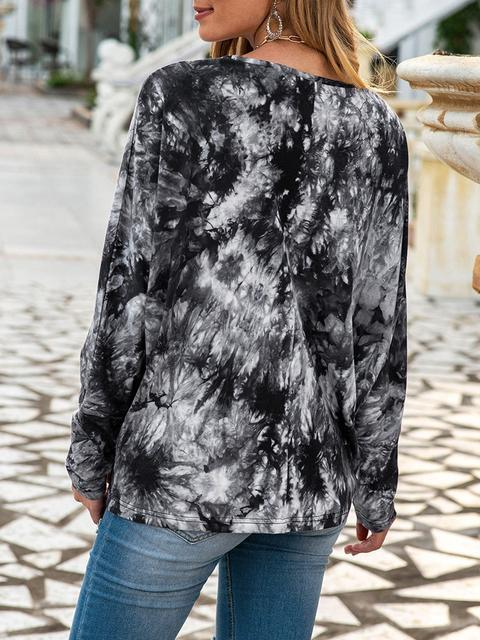 Tie-dye Round Neck Regular Tops