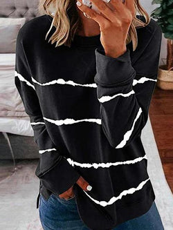 Tie-dye Stripes Print Long Sleeve Tops