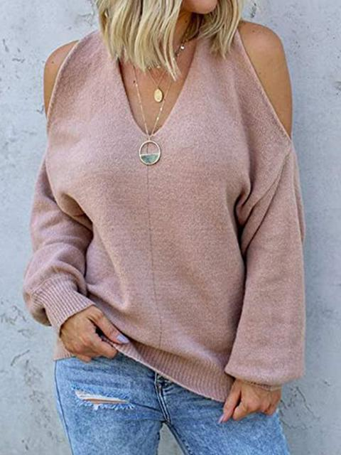 V Neck Cross Knitted Cold Strapless Sweaters
