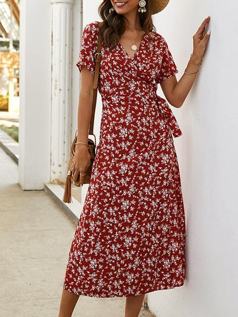 V Neck  Drawstring Floral Print Dress
