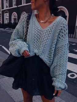 V-neck Hollow Out Loose Sweater