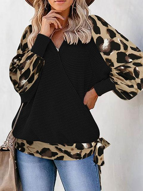 V Neck Leopard Sleeve Loose Sweater
