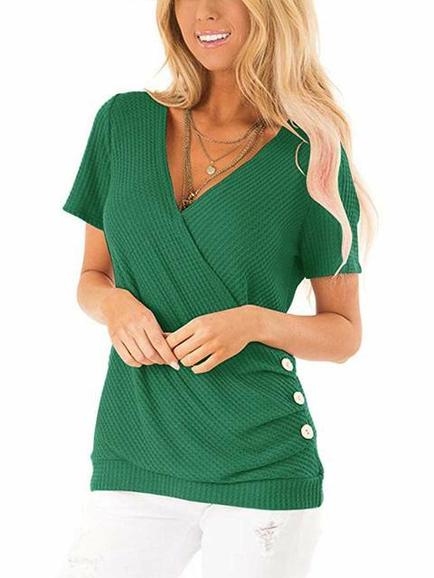 V-neck Solid Casual Knitted Tops