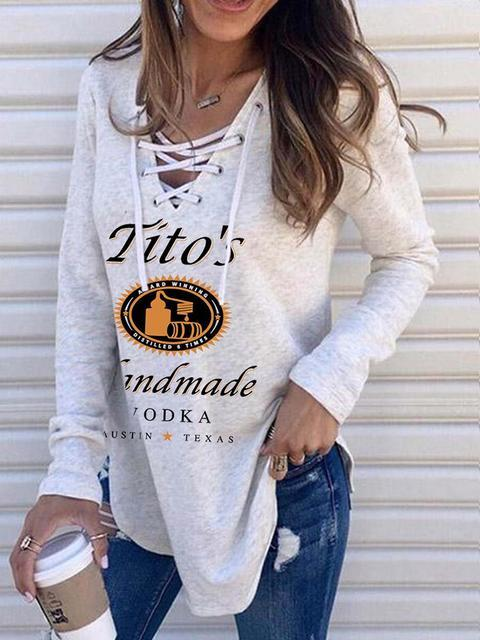 V Neck String Sweatshirt Loose Hoodies