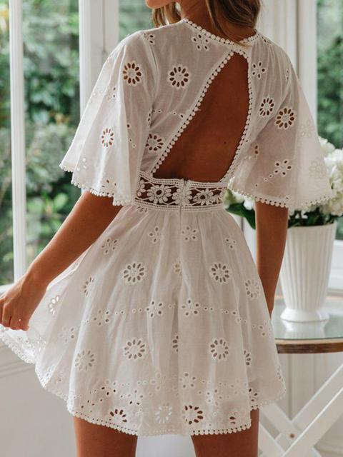 Vintage Print Lace Mini Dress