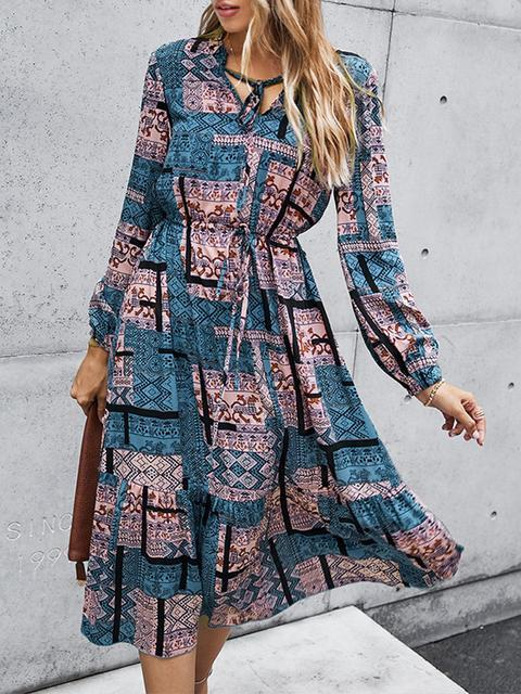 Vintage Printed Long Sleeve Dress