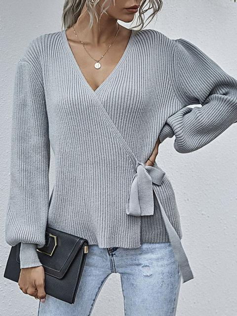Waist Tie V Neck Slim Sweater
