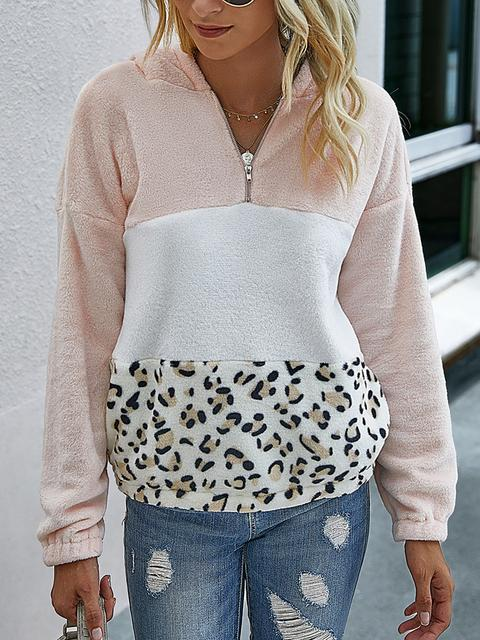 Zipper Leopard Long Sleeve Fleece Hoodie
