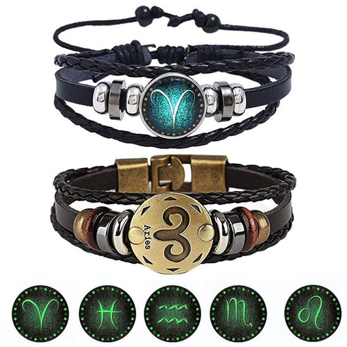 2pcs/set 12 Constellation Luminous Leather Bracelet