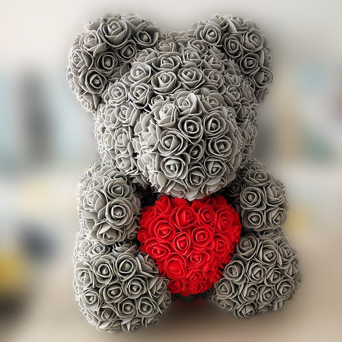 40cm Bear of Artificial Rose Flowers