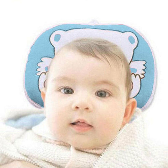 Infant Anti-Roll Pillow.  Crib Cot Bed Neck Support for Newborn baby. Cartoon Bear Cushion.