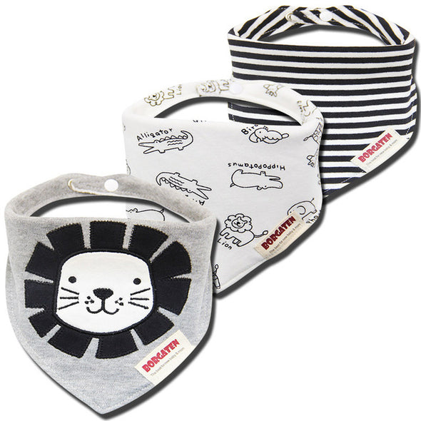 Bi3 Organic Cotton Baby Bib. Waterproof Bib . Great Cotton Bandana Bib for Newborn Baby  & Toddler. 3pcs . (R3)