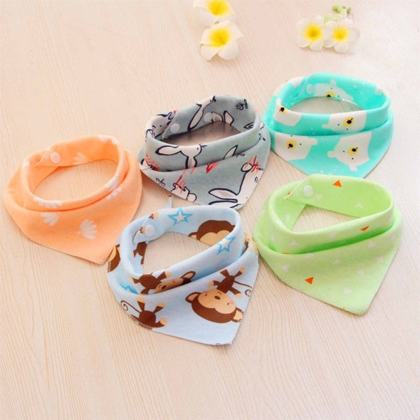 5PCS Baby bibs High quality triangle double layers cotton baberos Cartoon Character Animal Print baby bandana bibs dribble bibs