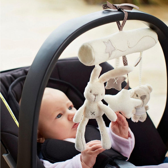 Plush Cute Rabbit Star Newborn Baby Music Hanging Bed Bedroom Decor Safety Seat Plush Toy Stroller Accessories Gifts