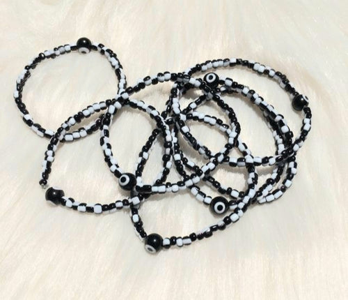 Evil Eye Charm Bracelet - Black & White