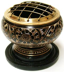 Carved Brass Smudging Pot
