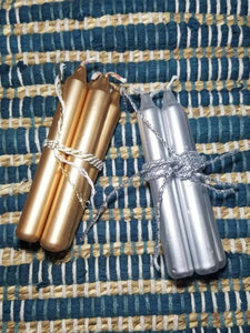Gold and Silver Mini Taper Candles