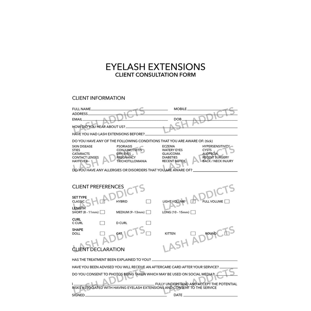 Client Consultation Form - Lash Addicts