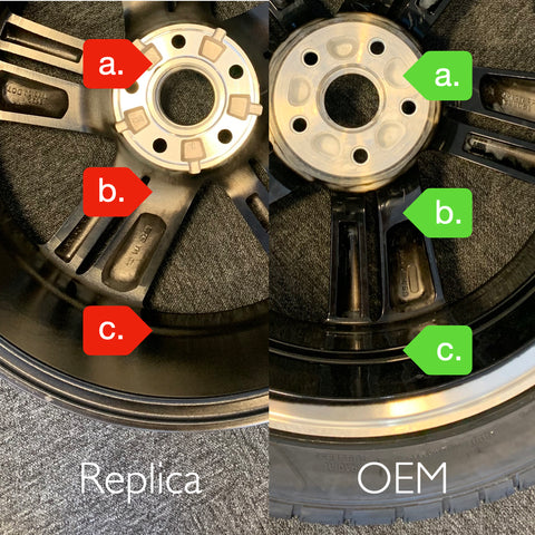 """Back side differences between replica and OEM Honda Accord 19"""" sport wheel"""