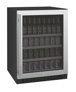 "Allavino Flexcount VSBC24-SSLN Beverage Center 24"" Wide Black Cabinet and Stainless Steel Door with Left Hinge"