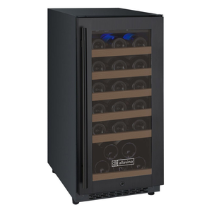 "Allavino Flexcount VSWR30-1BWRN 15"" Single Zone Wine Cooler Refrigerator - 30 Bottle Capacity - Hinge on Right and Black Door"
