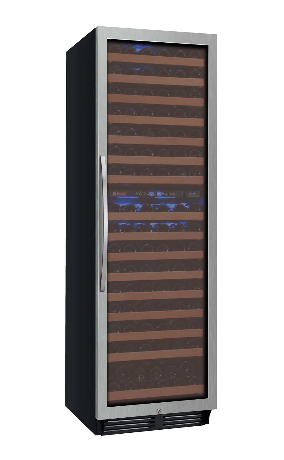 Allavino Flexcount YHWR172-2SWRN 172 Bottle Dual-Zone Wine Cooler with Right Hinge Stainless Steel Door