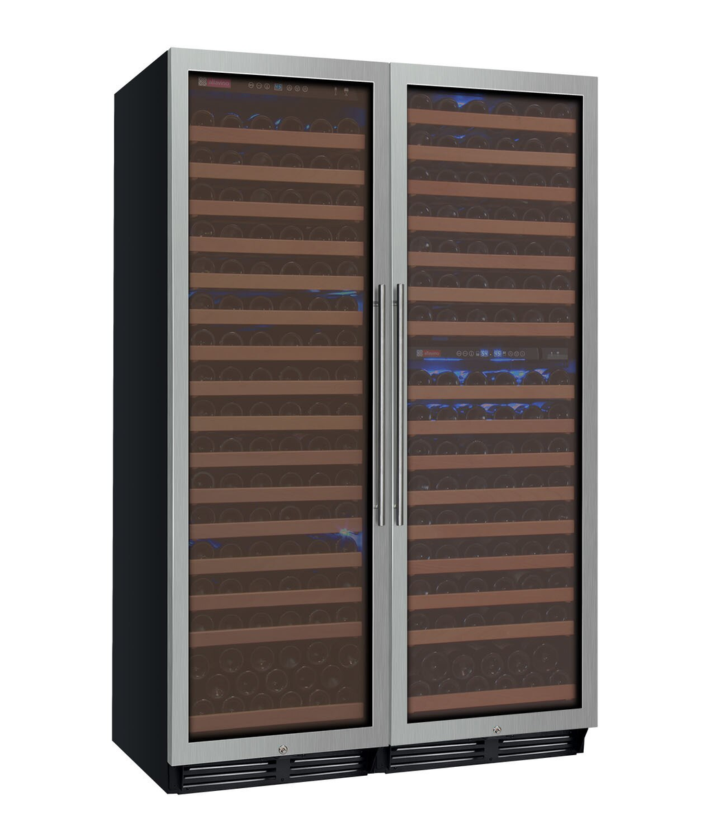 Allavino Flexcount 3Z-YHWR7274-SW 346 Bottle Three-Zone Wine Cooler with Stainless Steel Doors