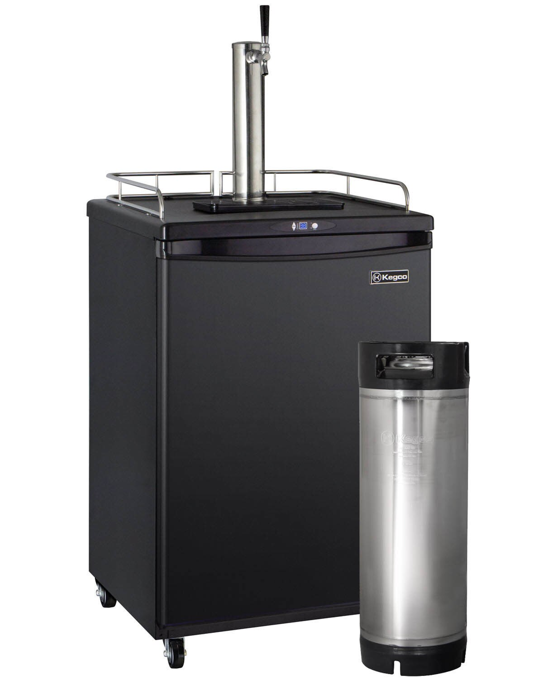 DIGITAL COMMERCIAL GRADE HOME BREW KEGERATOR WITH 5 GALLON KEG - BLACK CABINET WITH BLACK DOOR