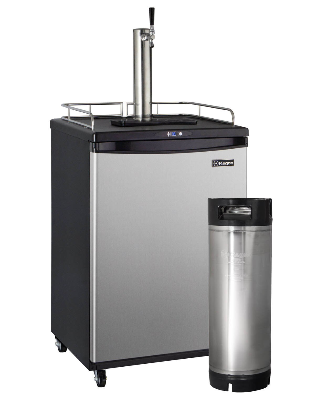 DIGITAL COMMERCIAL GRADE HOME BREW KEGERATOR WITH 5 GALLON KEG - BLACK CABINET WITH STAINLESS STEEL DOOR
