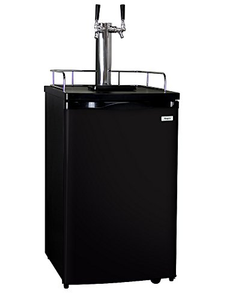 Home Brew Double-Faucet Kegerator with Black Cabinet and Door