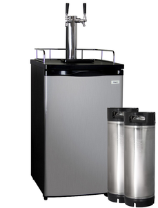 HBK199S-2K HOME BREW KEGERATOR - BLACK CABINET AND STAINLESS STEEL DOOR