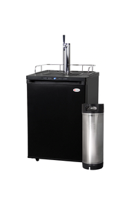 FULL SIZE DIGITAL HOME-BREW KEGERATOR WITH 5 GALLON KEG - BLACK CABINET WITH BLACK DOOR