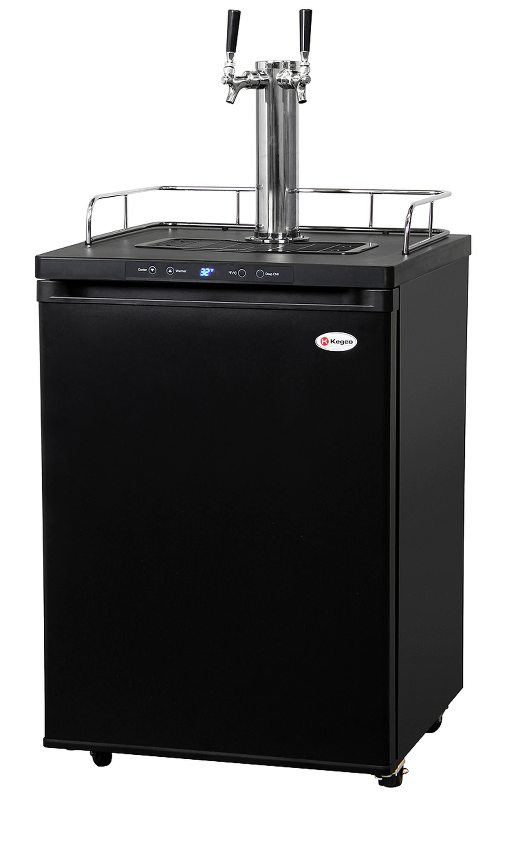 HBK309B-2 TWO-FAUCET HOME-BREW KEGERATOR - MATTE BLACK CABINET AND DOOR
