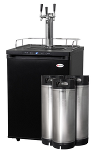 TRIPLE FAUCET DIGITAL HOME BREW KEGERATOR WITH 5 GALLON KEGS - BLACK MATTE CABINET AND DOOR