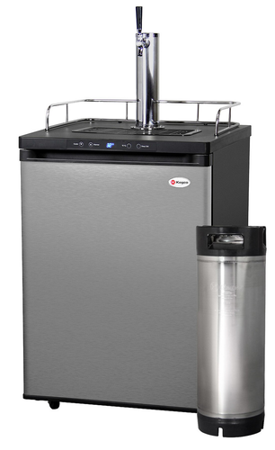 FULL SIZE DIGITAL HOME-BREW KEGERATOR WITH 5 GALLON KEG - BLACK CABINET WITH STAINLESS STEEL DOOR