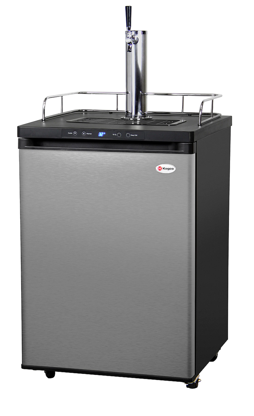 FULL SIZE DIGITAL HOME BREW KEGERATOR - BLACK CABINET WITH STAINLESS STEEL DOOR
