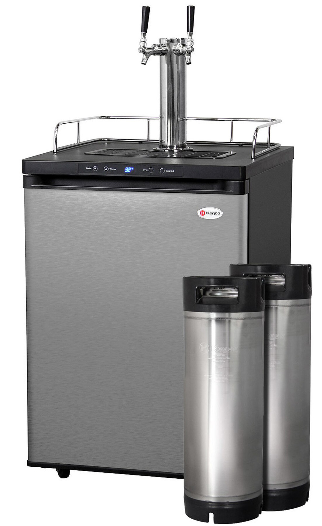 HBK309S-2K HOME BREW KEGERATOR WITH 5-GALLON KEGS - BLACK CABINET WITH STAINLESS STEEL DOOR